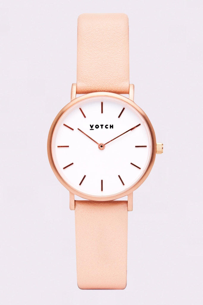 Petite Vegan Leather Watch in White, Rose Gold, Pink Strap