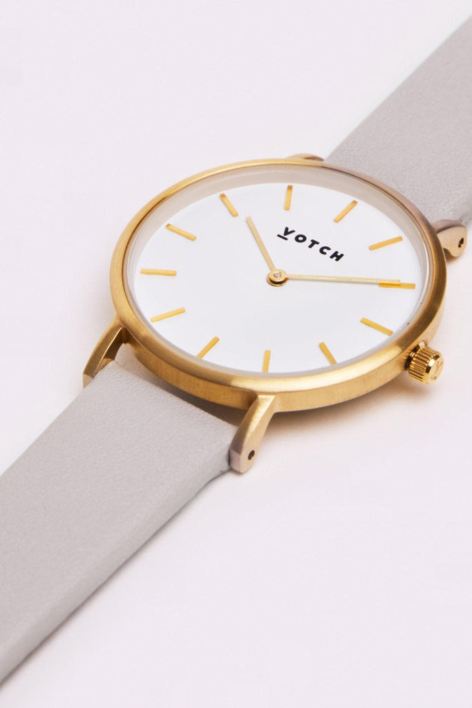 Petite Vegan Leather Watch in Light Grey, Gold, Light Gray Strap