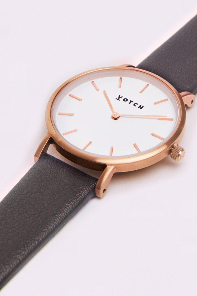 Petite Vegan Leather Watch in White, Rose Gold, Dark Gray Strap