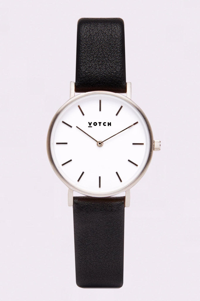 Petite Vegan Leather Watch in White, Silver, Black Strap