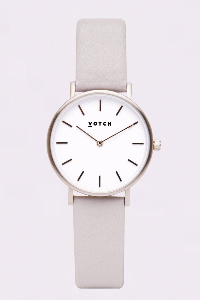 Petite Vegan Leather Watch in Light Grey, Silver, Light Gray Strap