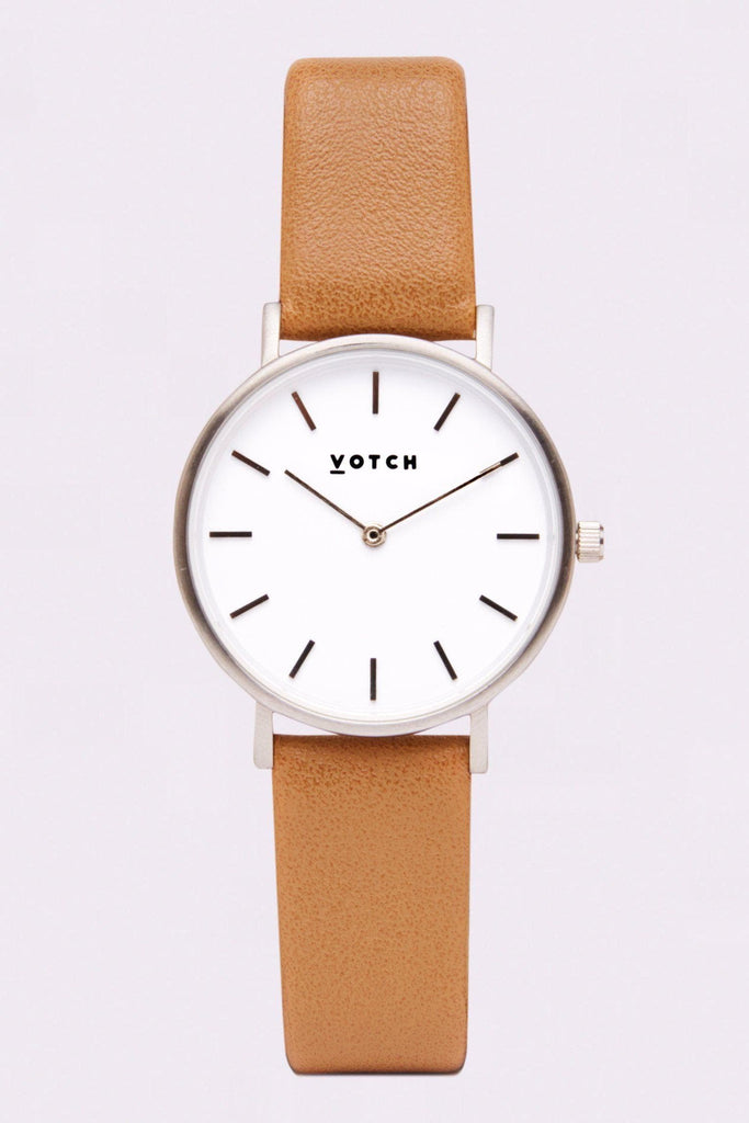 Petite Vegan Leather Watch in White, Silver, Tan Strap