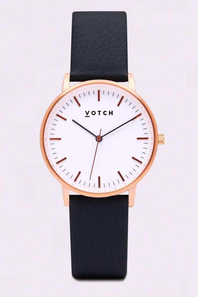 Moment Vegan Leather Watch in White, Rose Gold, Black Strap