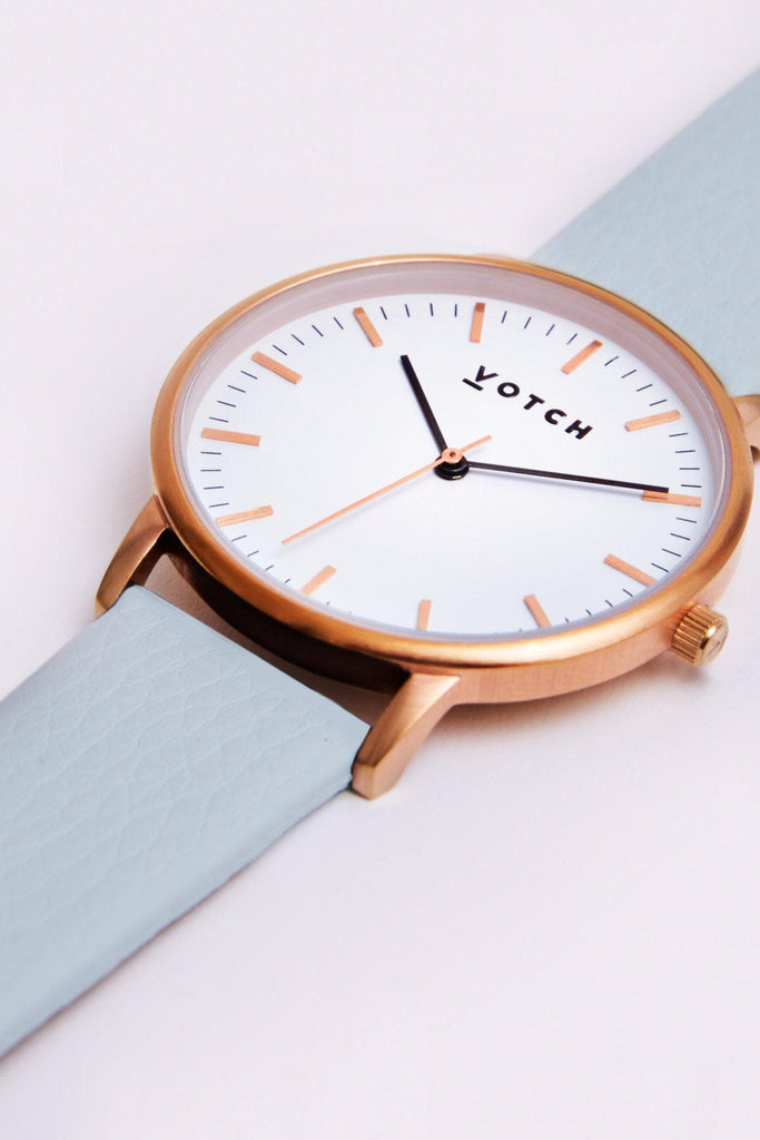 Moment Vegan Leather Watch in White, Rose Gold, Light Blue Strap