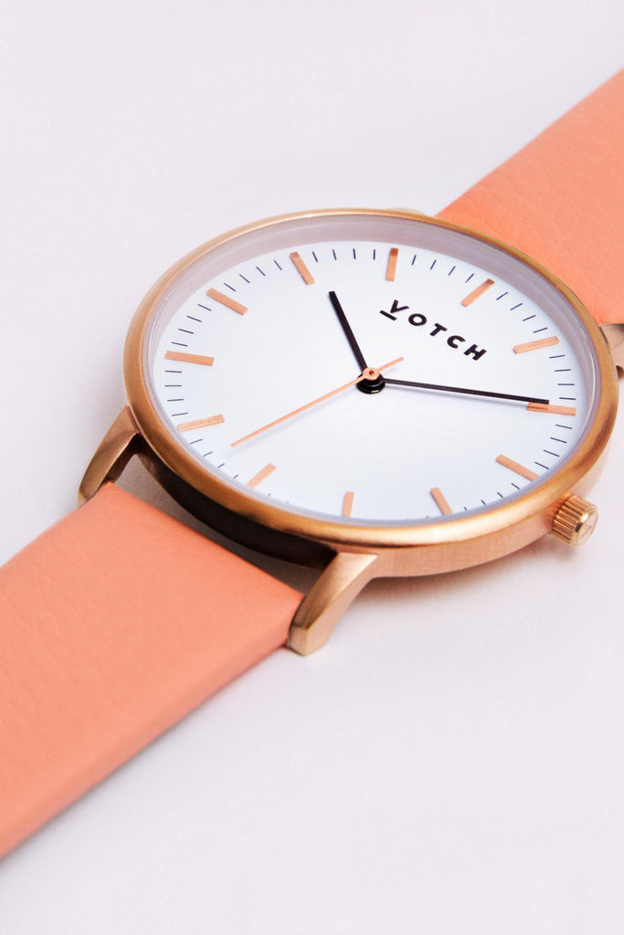 Moment Vegan Leather Watch in White, Rose Gold, Coral Strap