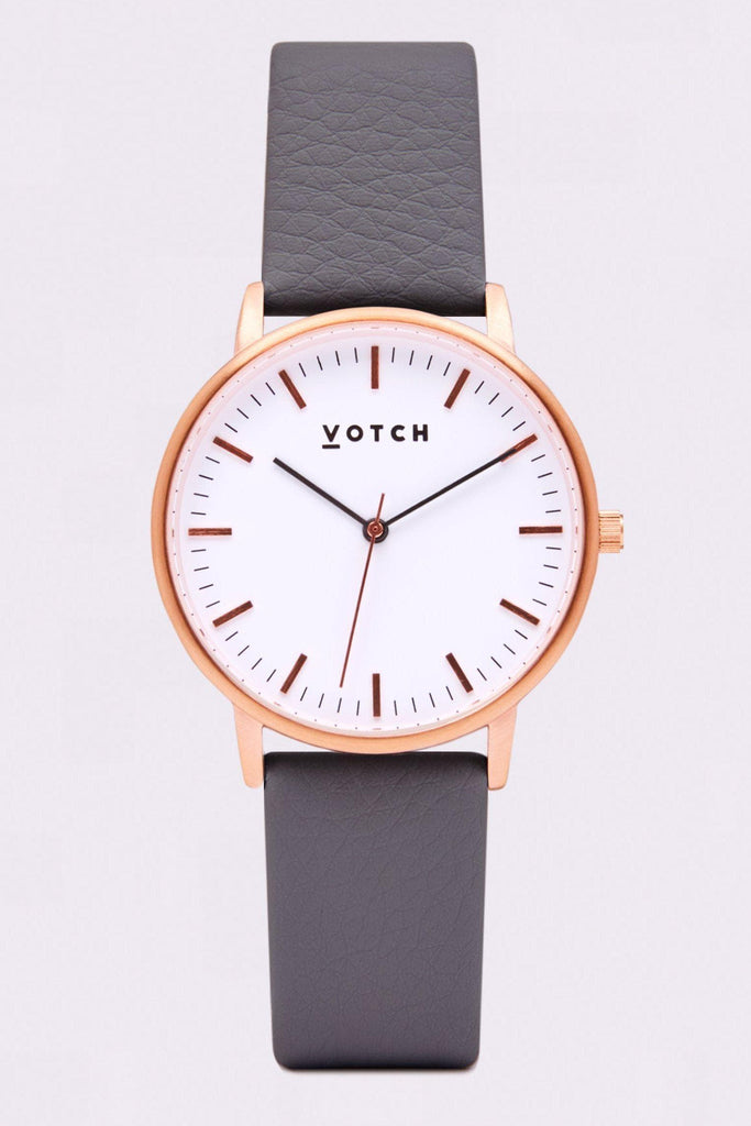 Moment Vegan Leather Watch in White, Rose Gold, Slate Gray Strap