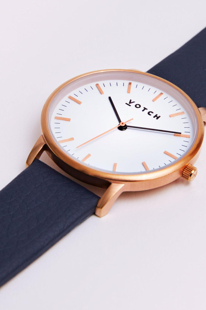 Moment Vegan Leather Watch in White, Rose Gold, Navy Strap