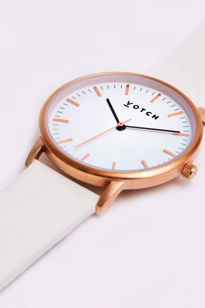 Moment Vegan Leather Watch in White, Rose Gold, Off White Strap