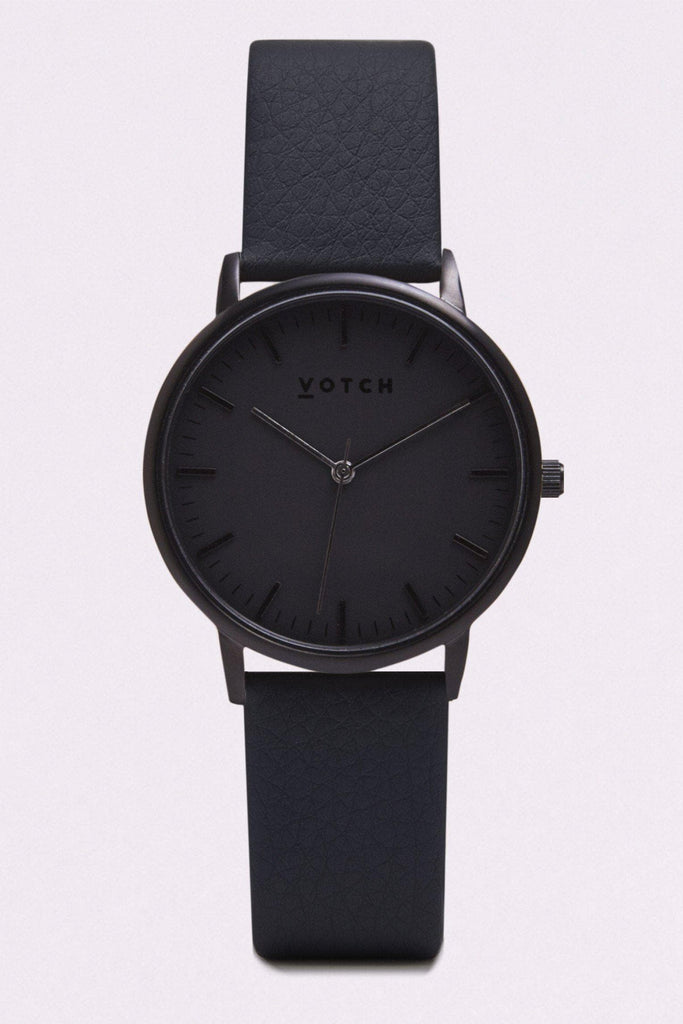 Moment Vegan Leather Watch in Black, Black, Black Strap