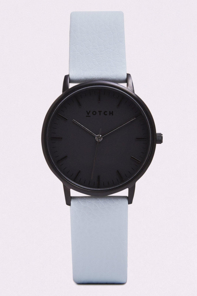 Moment Vegan Leather Watch in Black, Black, Light Blue Strap