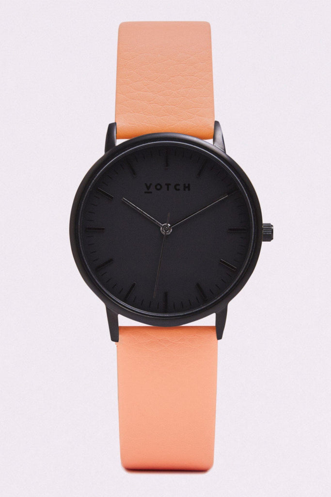 Moment Vegan Leather Watch in Black, Black, Coral Strap