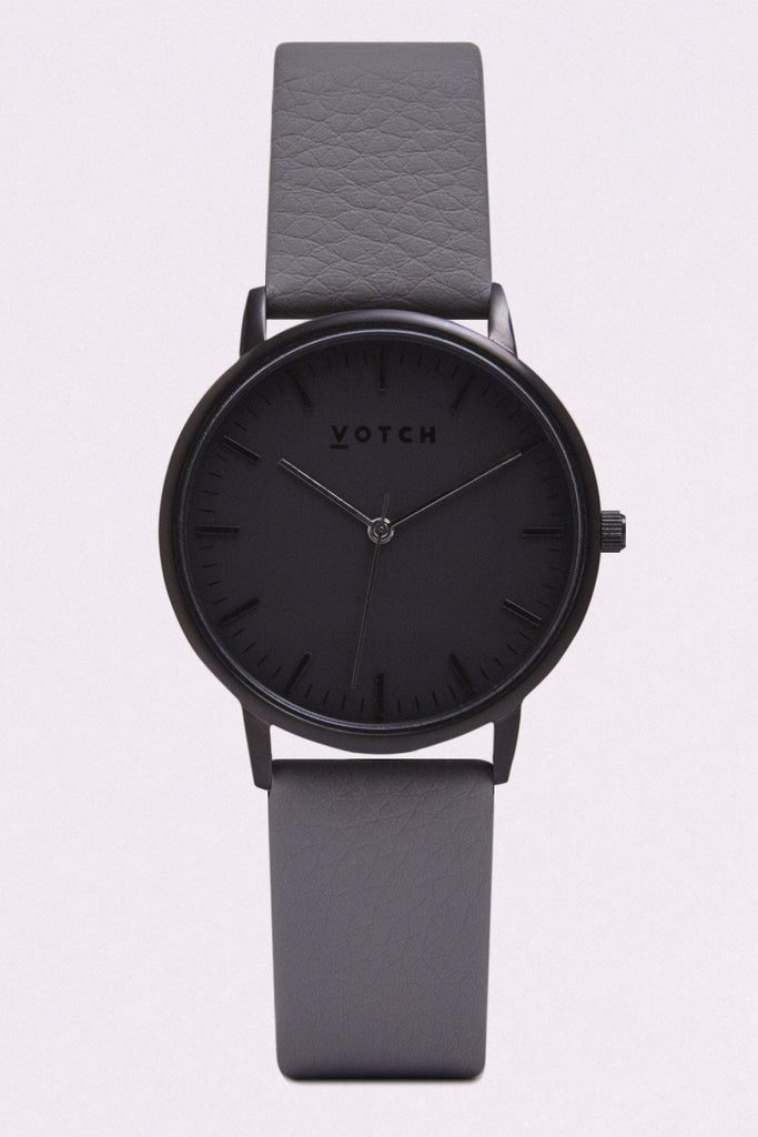 Moment Vegan Leather Watch in Black, Black, Slate Grey Strap