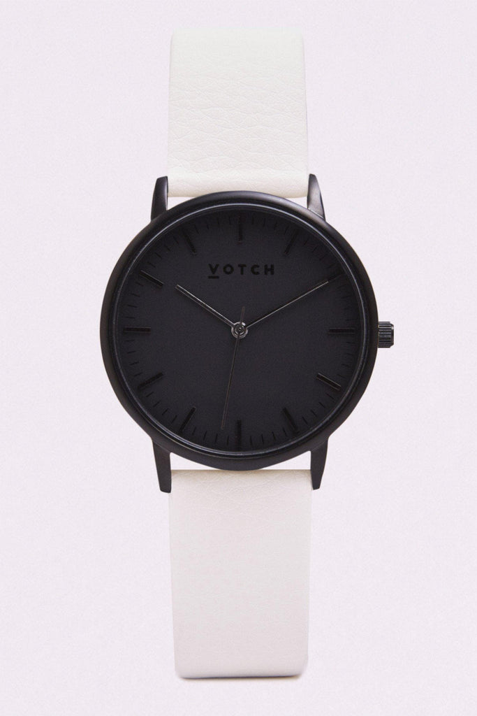 Moment Vegan Leather Watch in Black, Black, Off White Strap