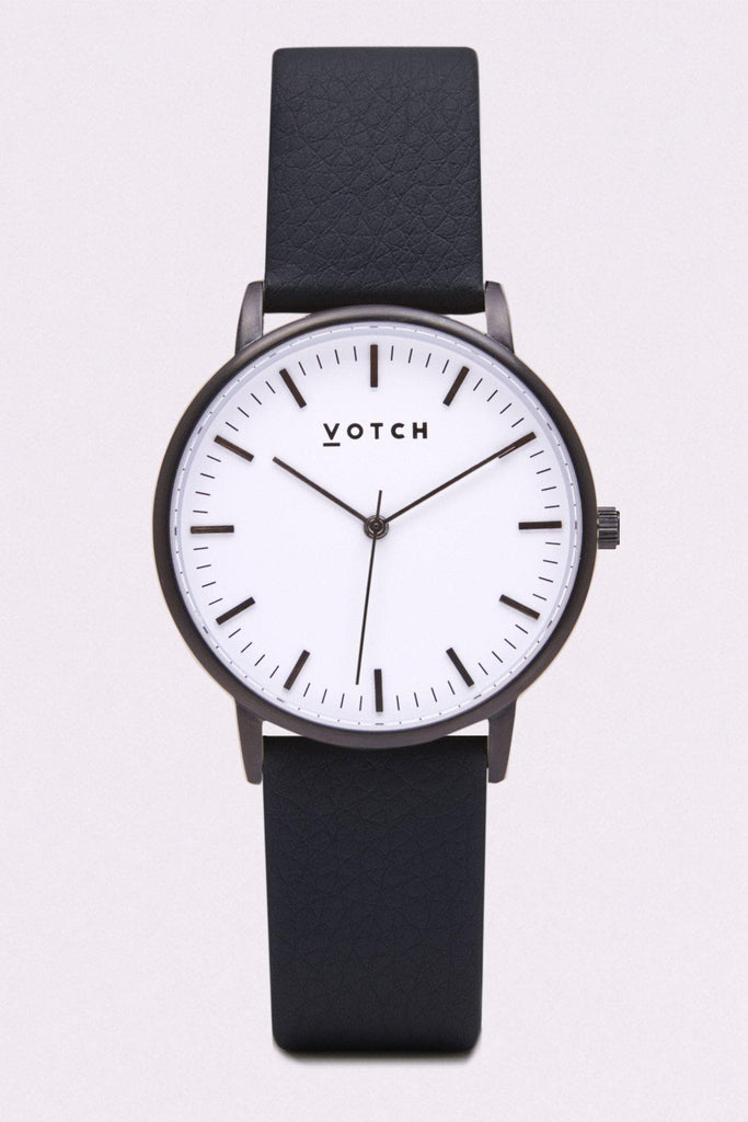 Moment Vegan Leather Watch in White, Black, Black Strap