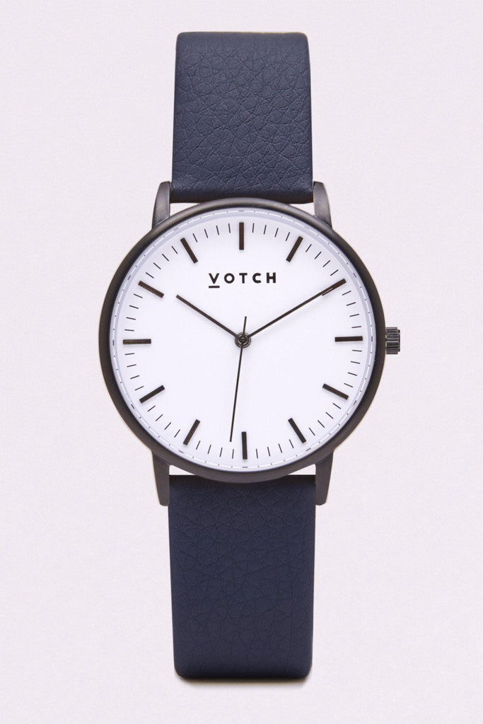 Moment Vegan Leather Watch in White, Black, Navy Strap