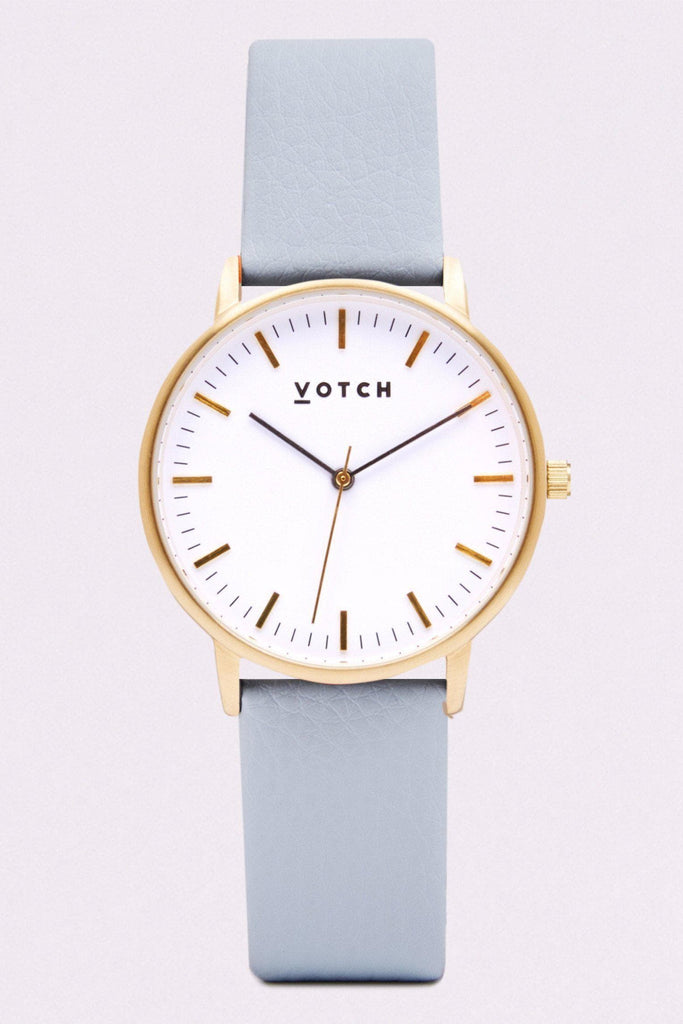 Moment Vegan Leather Watch in White, Gold, Light Blue Strap