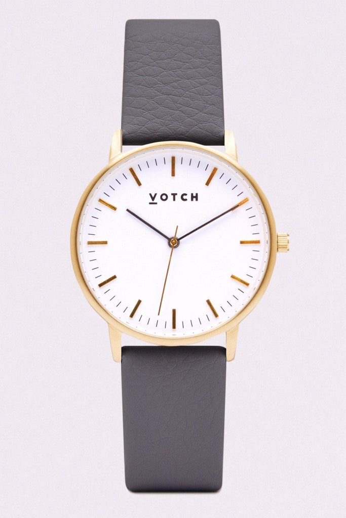 Moment Vegan Leather Watch in White, Gold, Slate Gray Strap