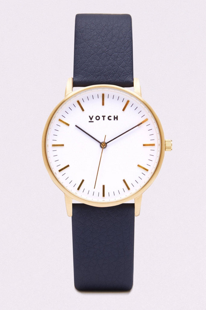 Moment Vegan Leather Watch in White, Gold, Navy Strap