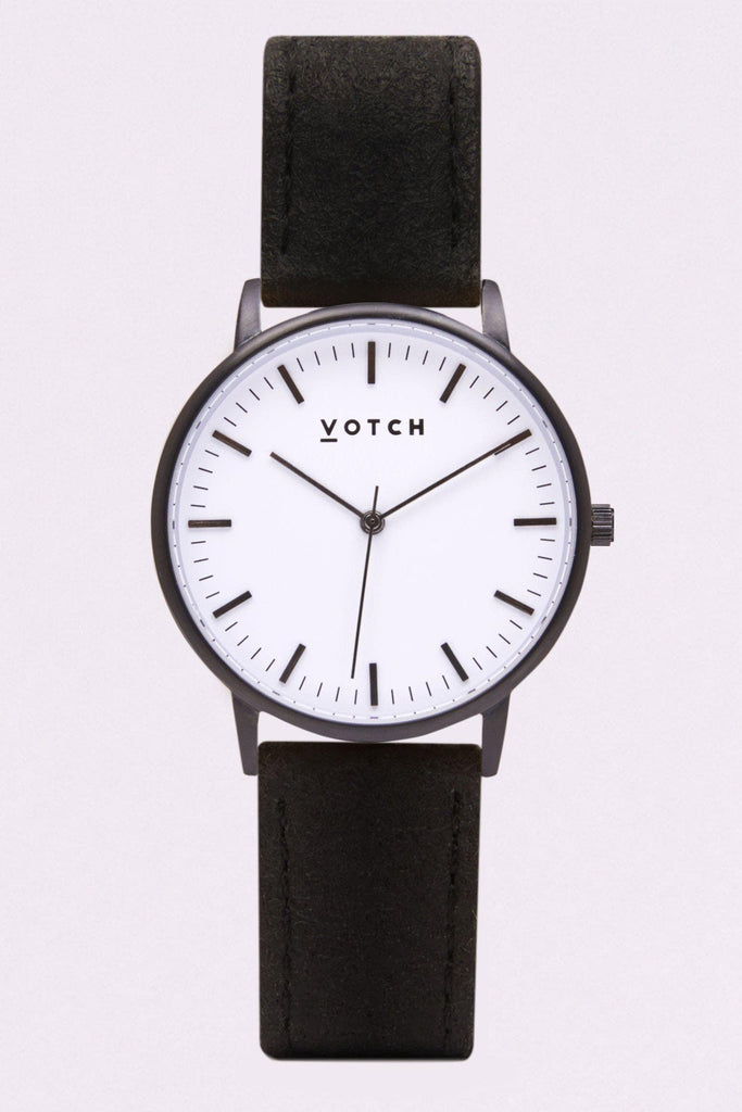 Moment Piñatex By-product Watch in White, Black, Black Strap