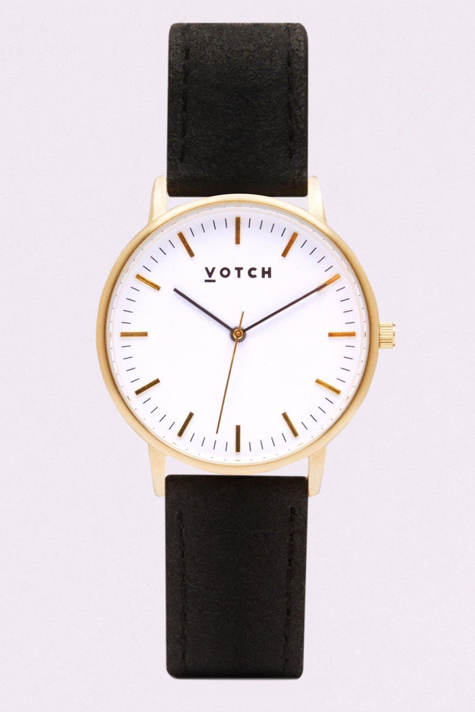 Moment Piñatex By-product Watch in White, Gold, Black Strap