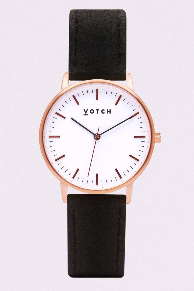 Moment Piñatex By-product Watch in White, Rose Gold, Black Strap
