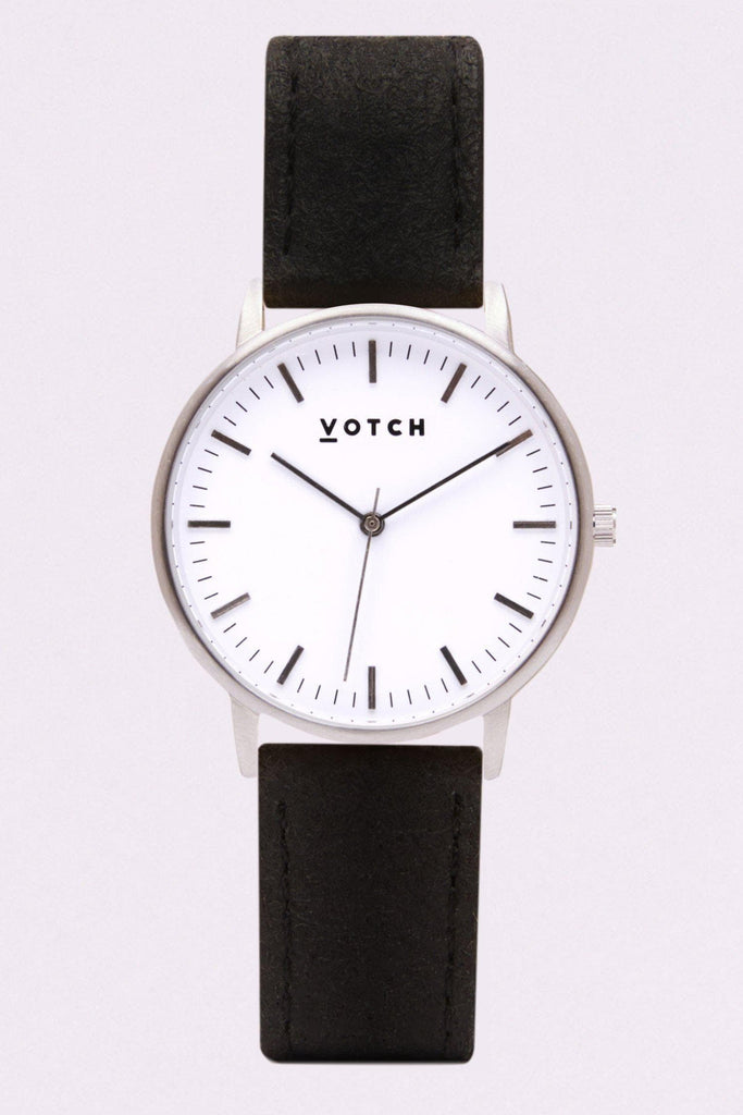 Moment Piñatex By-product Watch in White, Silver, Black Strap
