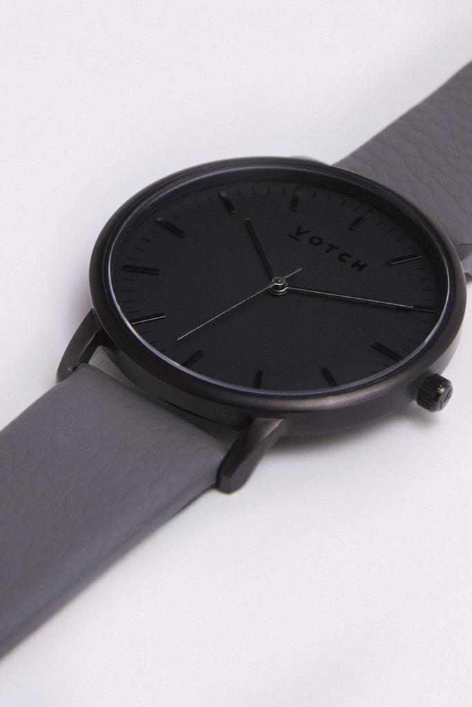 Moment Vegan Leather Watch in Black, Black, Slate Gray Strap