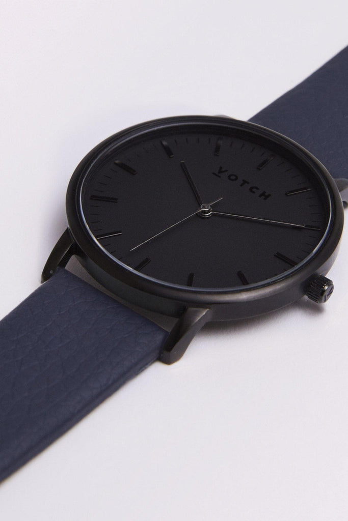 Moment Vegan Leather Watch in Black, Black, Navy Strap