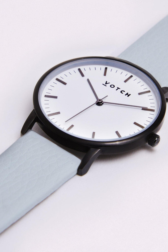 Moment Vegan Leather Watch in White, Black, Light Blue Strap