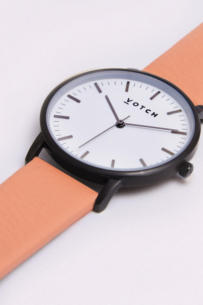 Moment Vegan Leather Watch in White, Black, Coral Strap