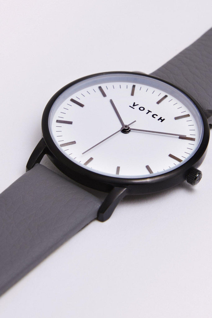 Moment Vegan Leather Watch in White, Black, Slate Gray Strap