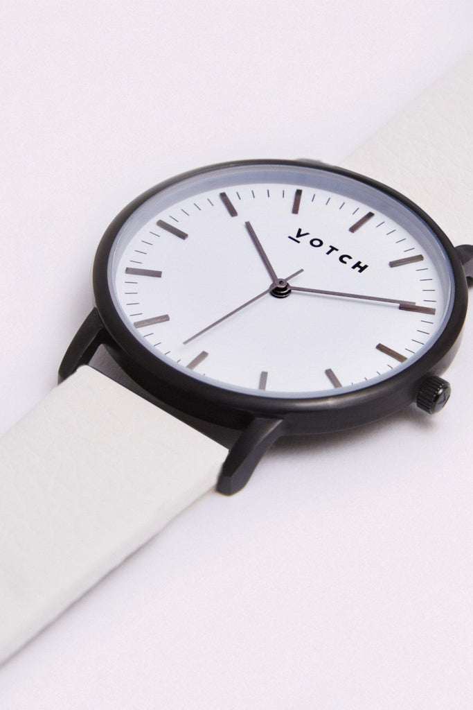 Moment Vegan Leather Watch in White, Black, Off White Strap