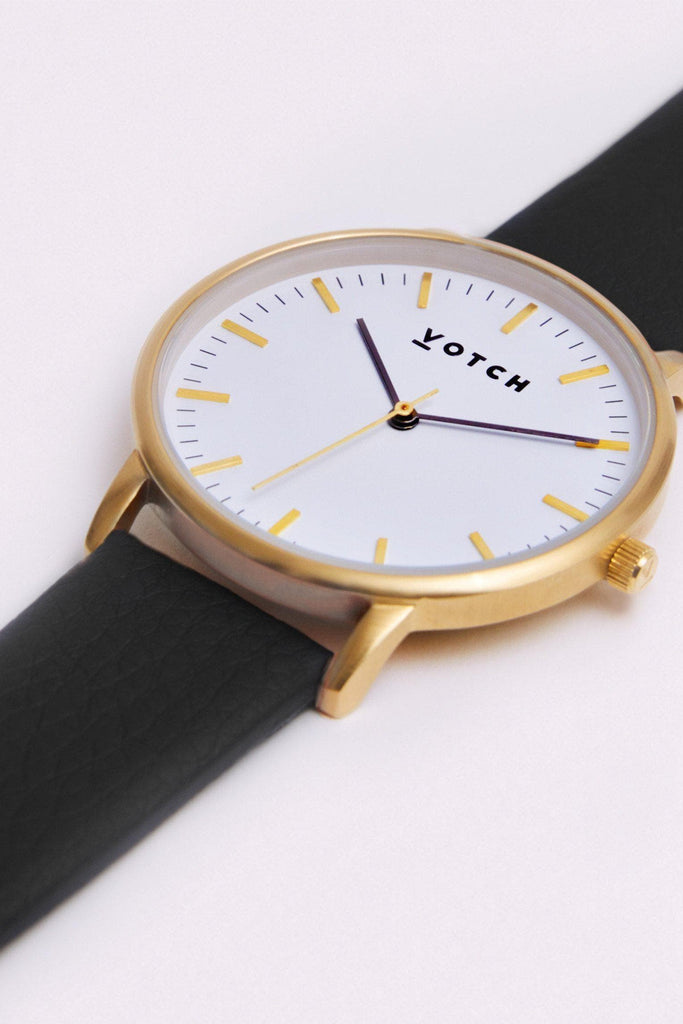 Moment Vegan Leather Watch in White, Gold, Black Strap