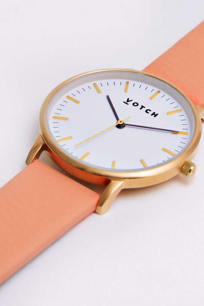 Moment Vegan Leather Watch in White, Gold, Coral Strap