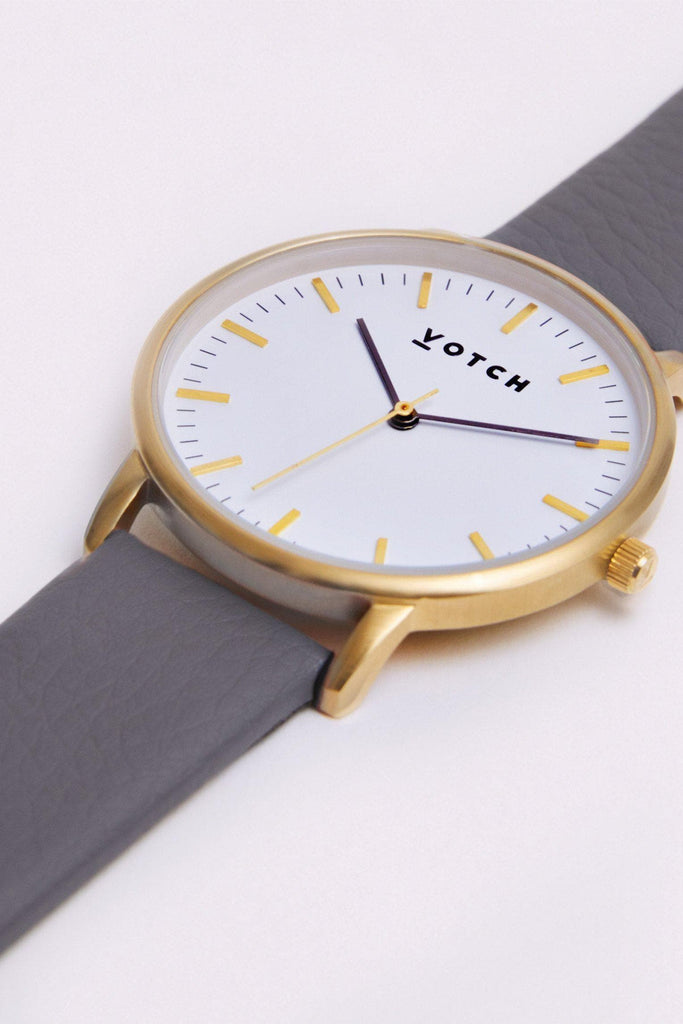 Moment Vegan Leather Watch in White, Gold, Slate Grey Strap