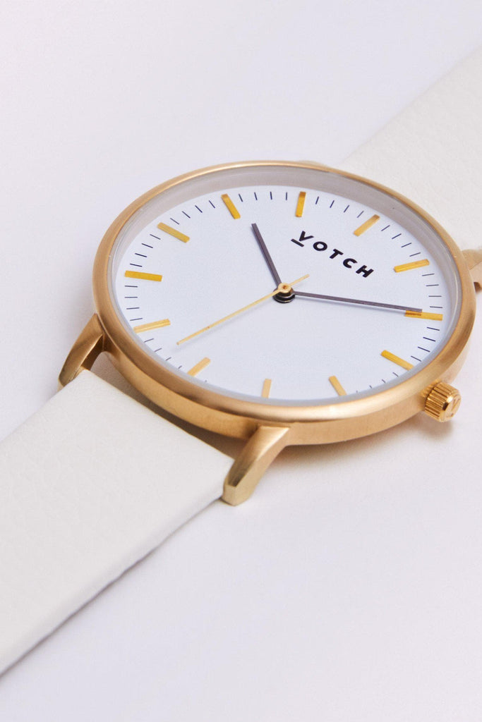 Moment Vegan Leather Watch in White, Gold, Off White Strap