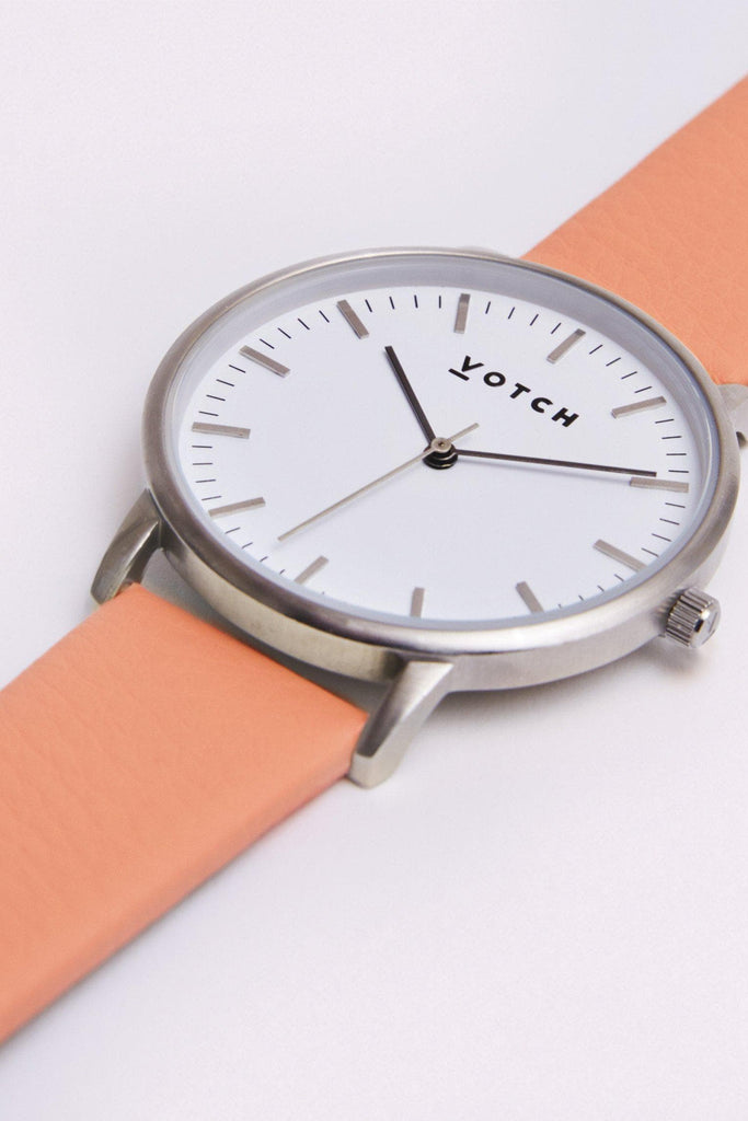 Moment Vegan Leather Watch in White, Silver, Coral Strap
