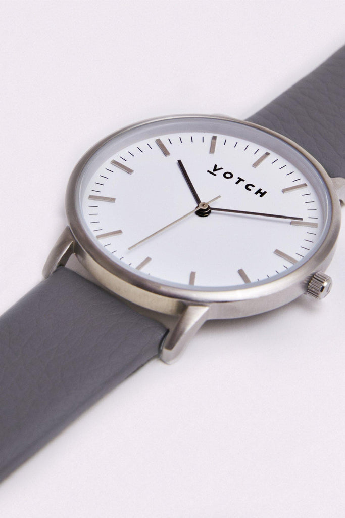 Moment Vegan Leather Watch in White, Silver, Slate Grey Strap