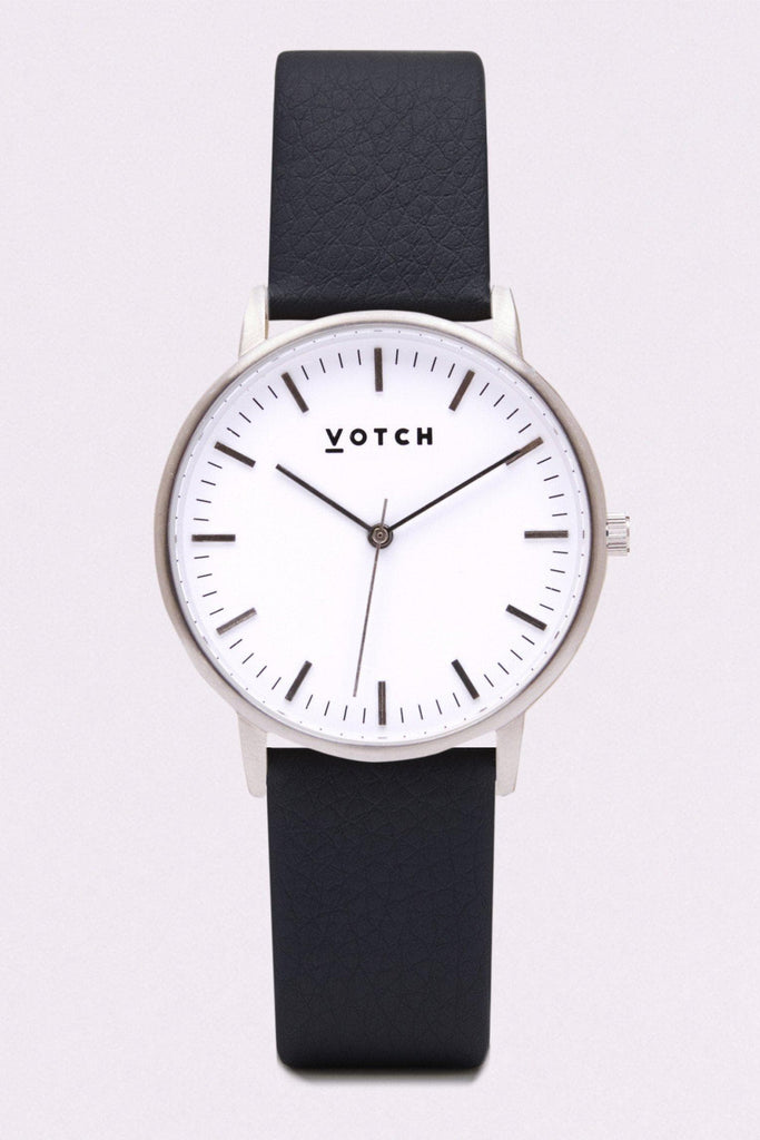 Moment Vegan Leather Watch in White, Silver, Black Strap