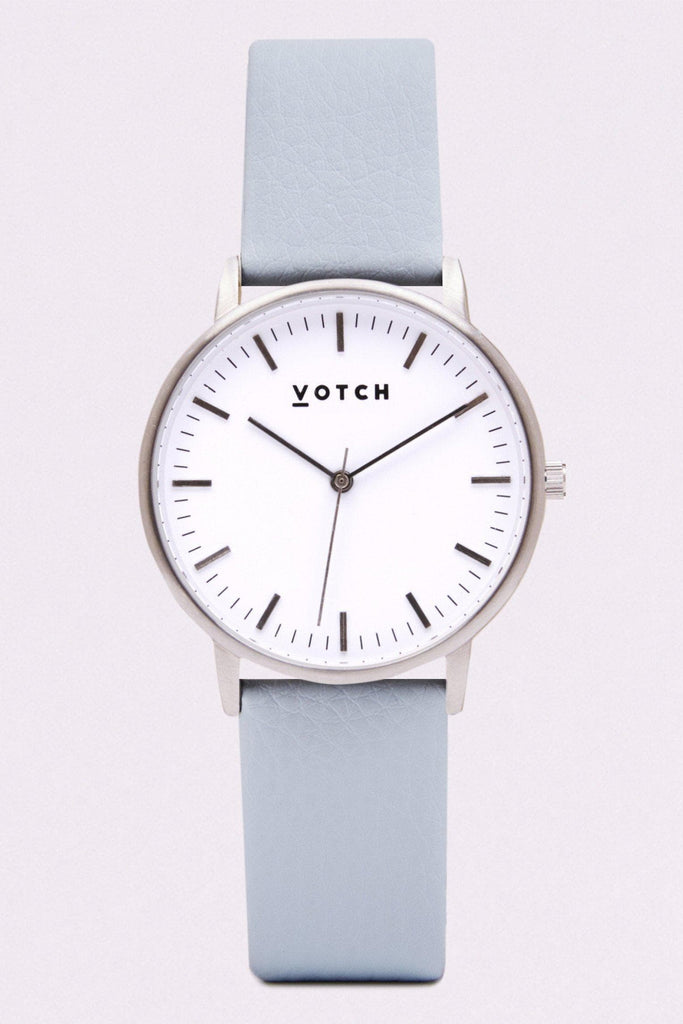 Moment Vegan Leather Watch in White, Silver, Light Blue Strap