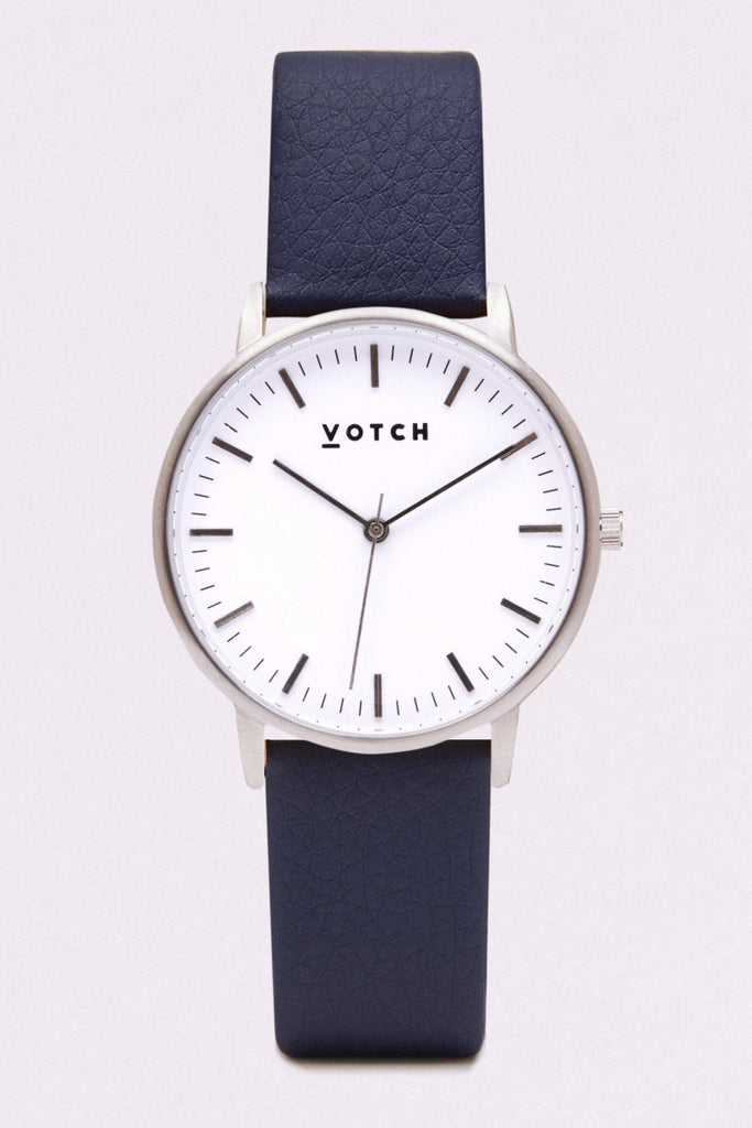 Moment Vegan Leather Watch in White, Silver, Navy Strap