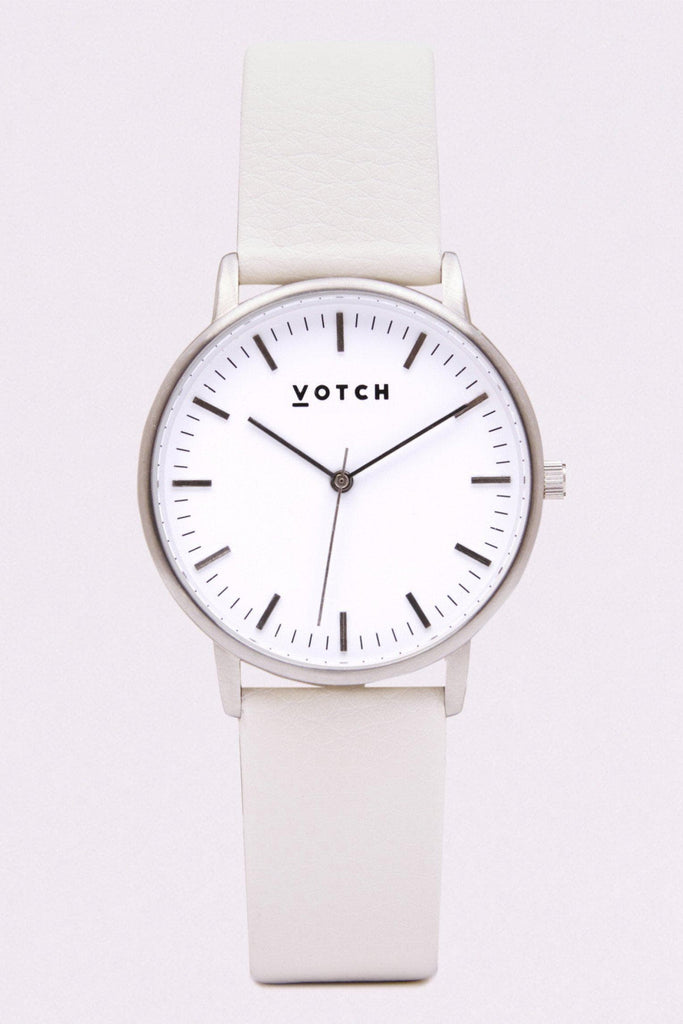 Moment Vegan Leather Watch in White, Silver, Off White Strap