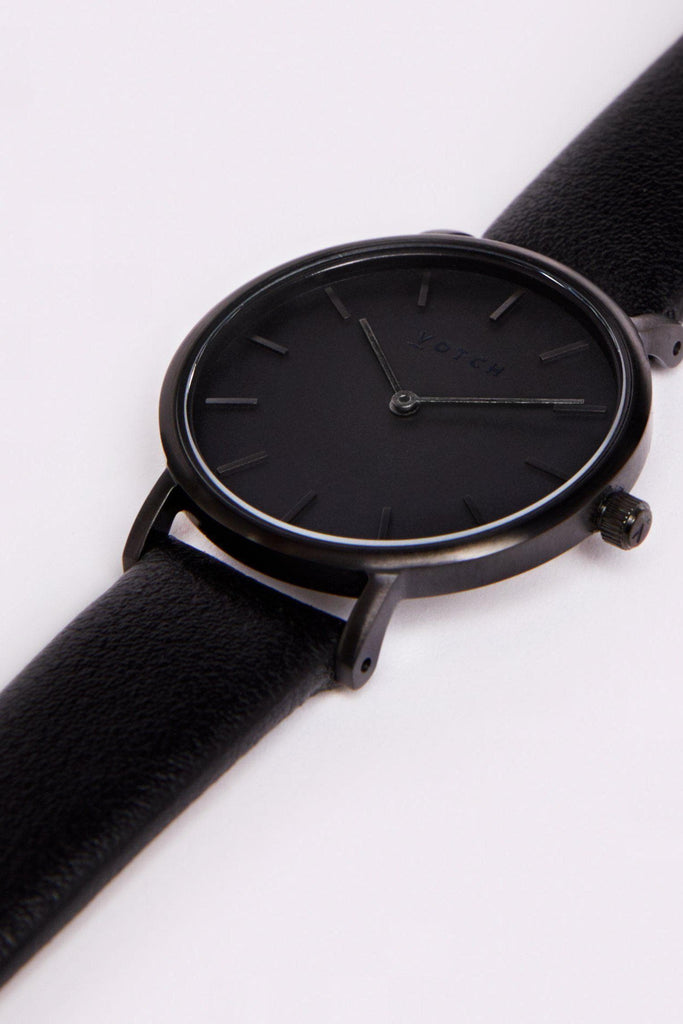 Petite Vegan Leather Watch in Black, Dark Gray, Black Strap