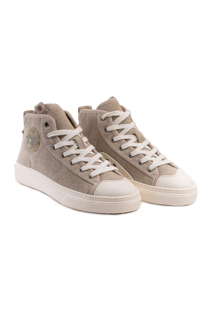 Esox Recycled Linen Sneakers in Beige