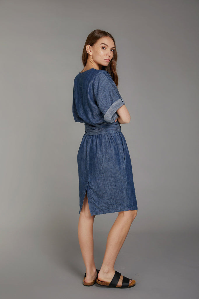 Obi One Vegan Tencel Linen Dress in Dark Denim