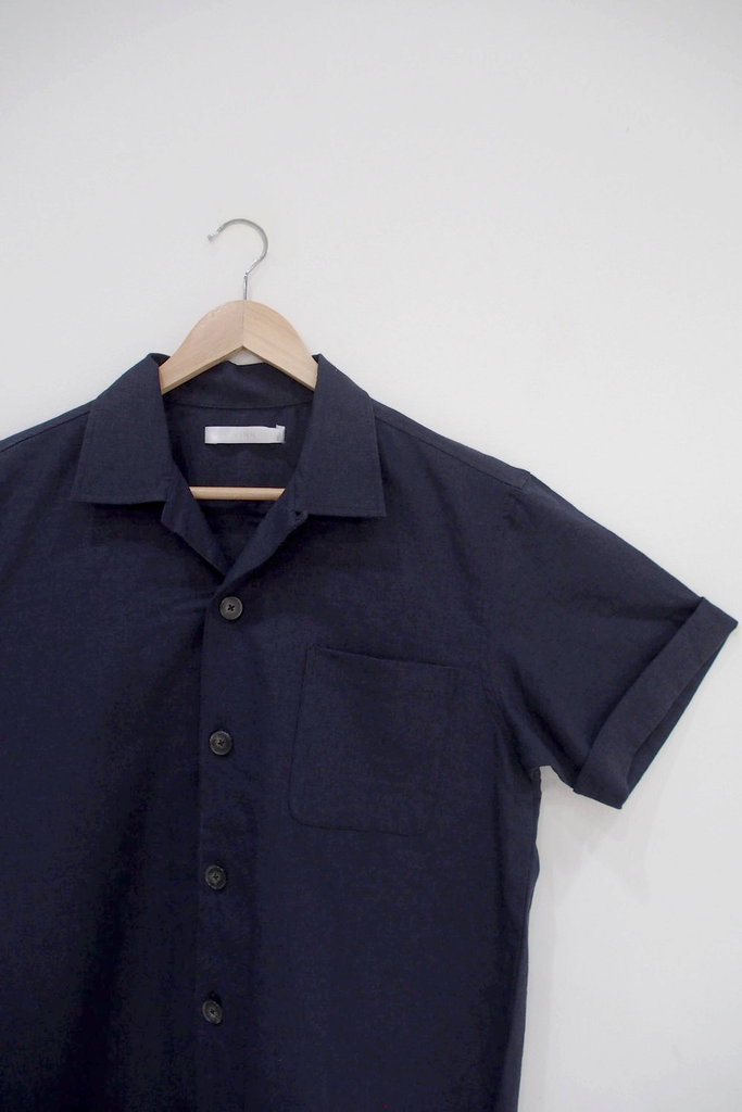 Organic Linen & Rayon Shirt in Navy