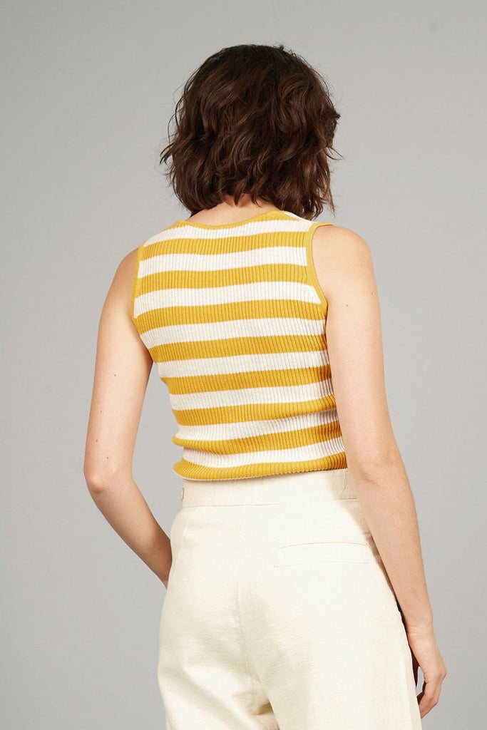 Papaye Organic Cotton Top in Yellow Stripe