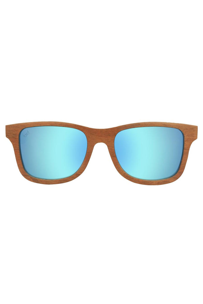Petrel Ethical & Eco-Friendly Layered Beechwood Sunglasses in Blue Mirror