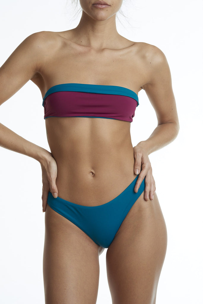 Posto 7 Biodegradable Polyamide Reversible Bikini Top in Different Colors