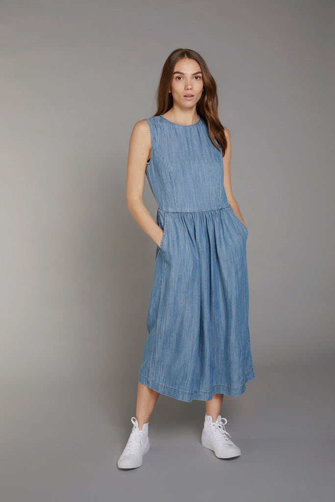 Primrose Vegan Tencel & Linen Dress in Indigo Denim